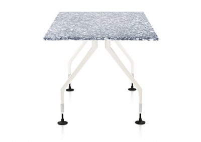 RePlastic Table: Quarry top, White Angled legs
